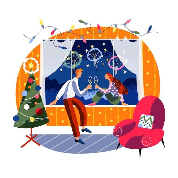 空中で新年の花火と窓際にワインを飲むクリスマスのロマンチックなカップルを祝うカップル