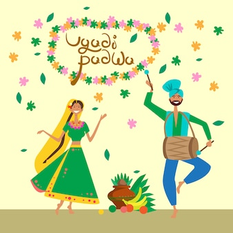 Couple celebrating happy ugadi and gudi padwa hindu new year greeting card holiday