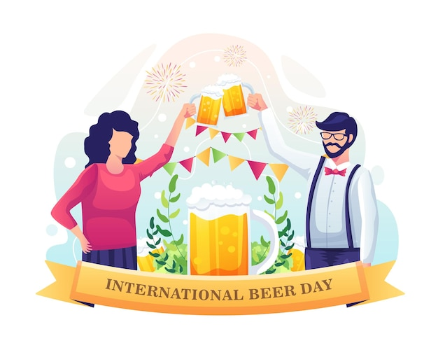 A couple celebrating international beer day with a beer toast illustration