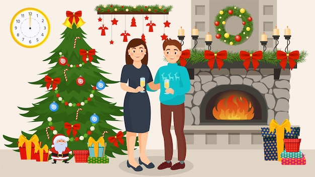 Couple celebrating new year together in decorated room with xmas tree