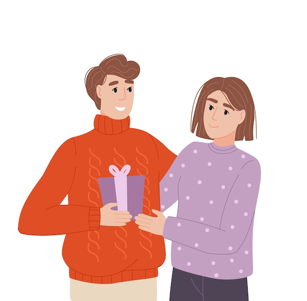 Couple at a celebration exchange of gifts