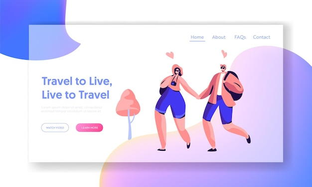 Couple character love travel landing page template.