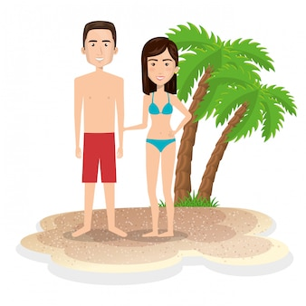 Couple characters on the beach