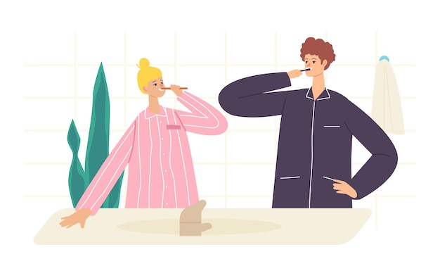 Couple characters morning hygiene procedure, young woman and man stand front of mirror in bathroom and brushing teeth after bath or shower, toothbrushing routine. cartoon people vector illustration