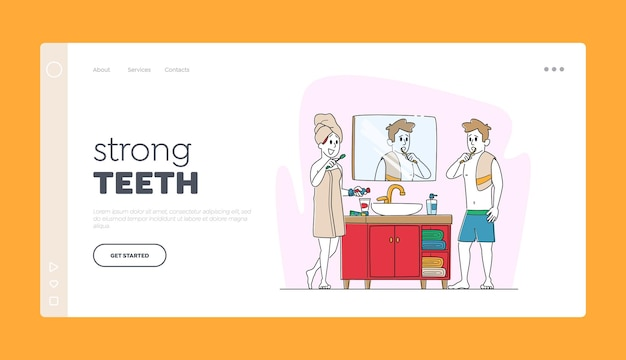 Пара персонажей процедура чистки зубов. шаблон целевой страницы.