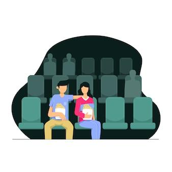 映画館で映画を見ているカップルのキャラクター