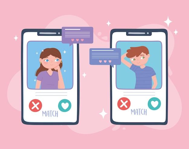 スマートフォンの画面でチャットするカップル、仮想関係
