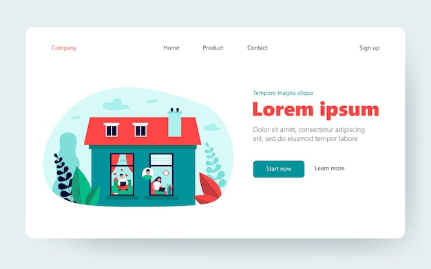 Couple chatting online. young girl and guy using laptops at their homes, view from outside. flat vector illustration. communication, dating site concept for banner, website design or landing web page
