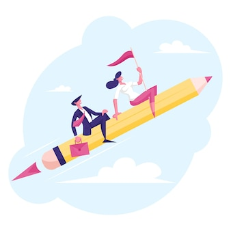Couple of cheerful business man and woman characters flying on huge pen like on rocket