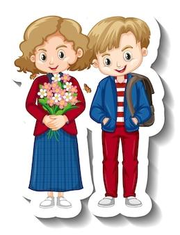 Couple children cartoon character sticker