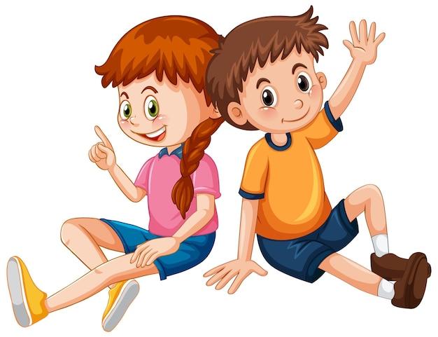 Personaggio dei cartoni animati di coppia bambini