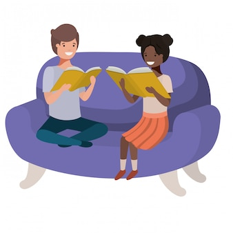 Couple of children sitting in sofa with book avatar character