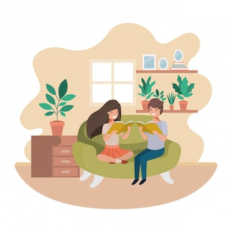 Couple of children with book in livingroom avatar character