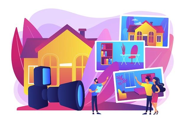 アパートを選ぶカップル。不動産写真、不動産写真サービス、不動産業者向けの写真、広告コンセプト。明るく鮮やかな紫の孤立したイラスト