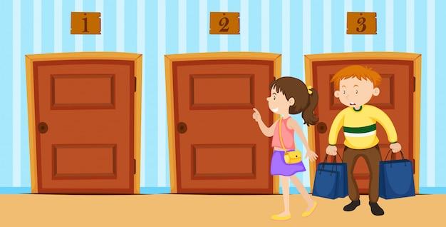 Пара выбирает дверь в комнате Premium векторы