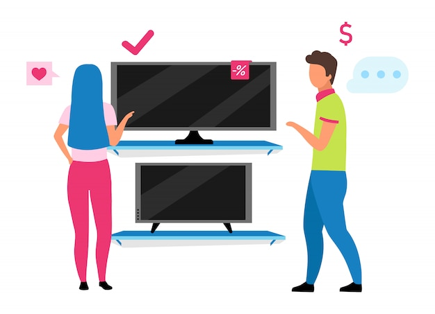 Couple choosing tv flat illustration. shop assistant helping woman to buy tv set in home appliance store cartoon characters. family shopping, husband and wife making choice in mall
