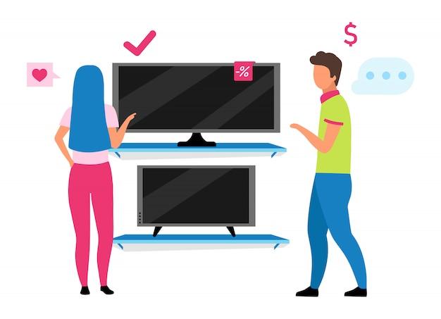 커플 tv 평면 그림을 선택합니다. 가전 제품 가게 만화 캐릭터에서 tv를 구입하는 여자를 돕는 가게 조수. 쇼핑몰에서 가족 쇼핑, 남편과 아내 선택