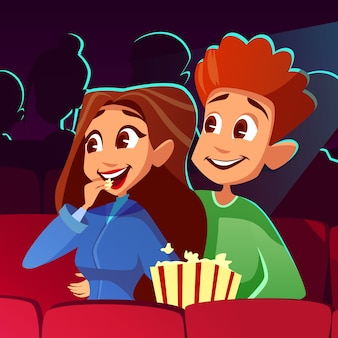 Couple in cinema illustration of young boy and girl watching movie together.