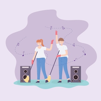 Пара убирает и слушает музыку