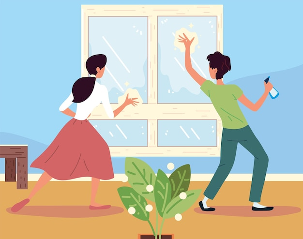Couple cleaning window