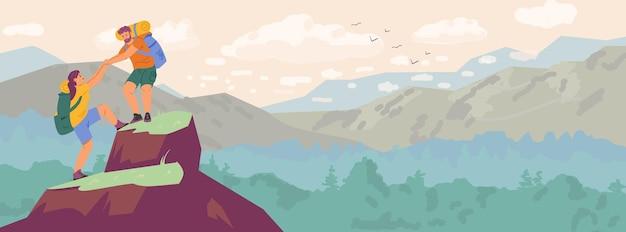 산 가로 배너를 등반 하는 커플. 남자와 여자 하이킹 벡터 일러스트 레이 션.
