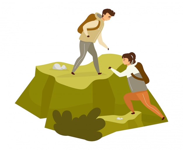 Couple climbing hill  color  illustration