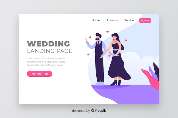 Couple concept for wedding landing page