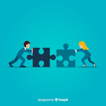 Couple connecting puzzle pieces background