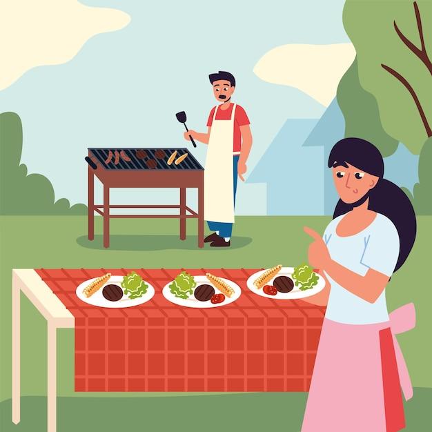 커플 요리와 식사
