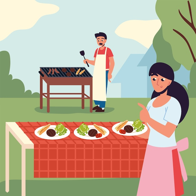Couple cooking and eating