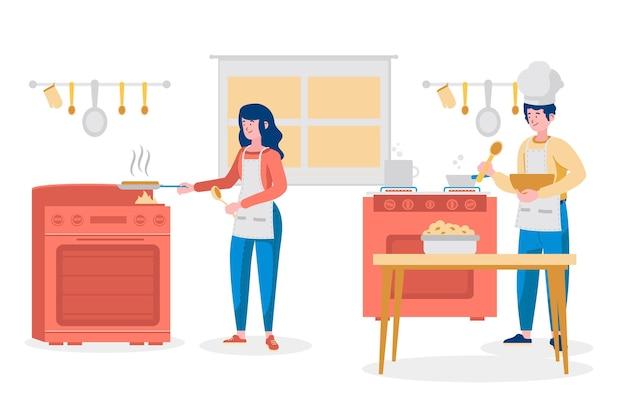 Пара готовит еду вместе в доме
