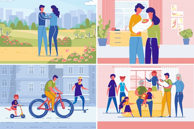 Couple creating family set from dating parenting illustration set in flat style