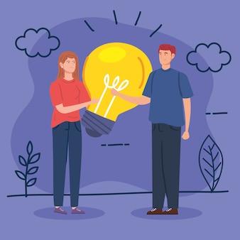 風景イラストの電球と創造的なカップル