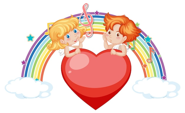 Couple of cupid angel character with melody symbols on rainbow