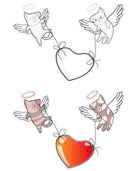 Couple cupid cat are lifting big heart cartoon coloring page