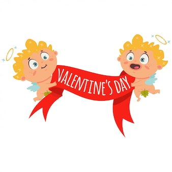 Couple cupid with red banner ribbon and the text