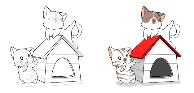 Couple cute cat in house cartoon coloring page