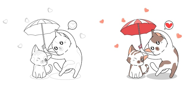Couple cute cat with umbrella of love cartoon coloring page