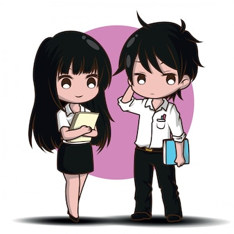 Couple cute teen student character vector. job concept.
