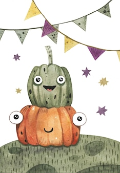 Couple of cute watercolor pumpkins for halloween party