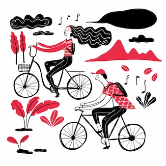 Couple cycling in the park, collection of hand drawn.
