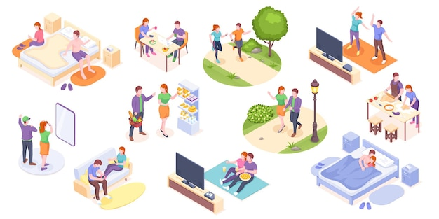 Couple daily life man and woman together vector isometric home routine and everyday leisure activity