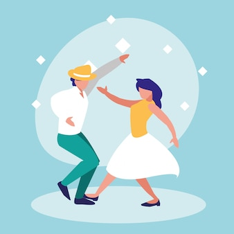 Couple dance of disco avatar character
