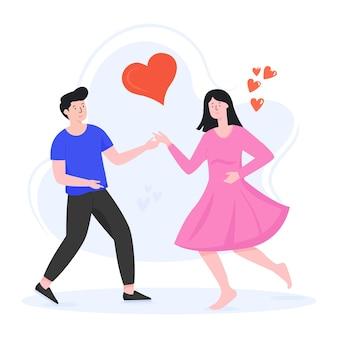 커플 댄스 평면 편집 가능한 그림