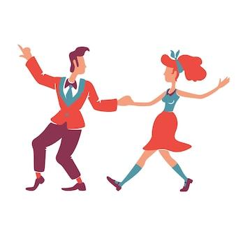 Пара танцует буги-вуги плоских цветных безликих персонажей. кавказский 40-х годов американская женщина и мужчина. исполнители дискотеки в стиле ретро, старомодное шоу 50-х годов изолированных иллюстрация шаржа