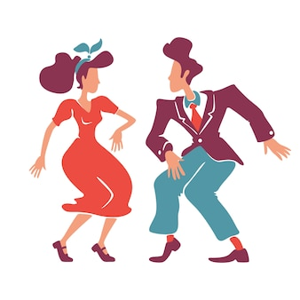 Couple dancing rock n roll, jive together flat color faceless characters. old fashioned lady and gentleman. swing dancers. retro style woman and man at 1940s disco isolated cartoon illustration
