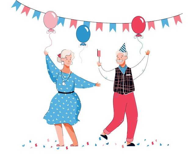 Couple of dancing senior people cartoon characters in holiday birthday hat among balloons and bunting