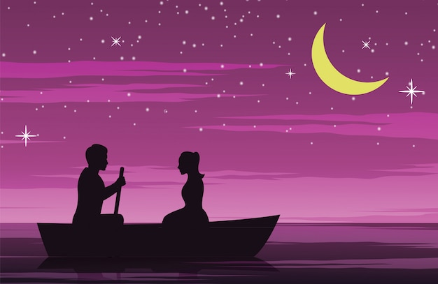 Couple date by row boat