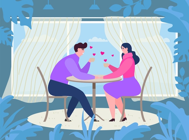 Couple date at cafe table, vector illustration, flat man woman character drink coffee at restaurant, happy young girl guy sitting together.