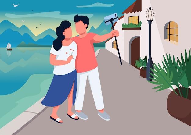 リゾート村フラットカラーイラストのカップルの日付